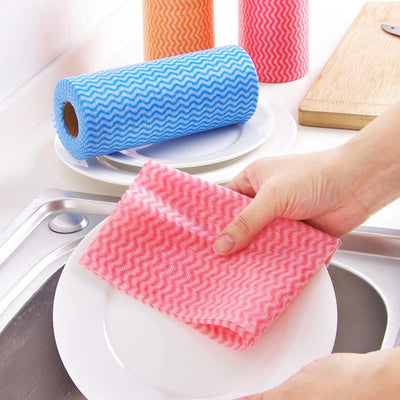 1 Roll 50pcs Kitchen Disposable Non-woven Fabrics Washing Cleaning Cloth Towels Striped Eco Friendly Practical Rags Wiping Pad