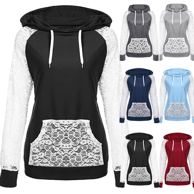 Womens Lace Patchwork Hooded Sweatshirt Pullover Hoodie Coat Outerwear Tops