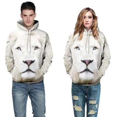 Unisex Couples Lovers White 3D Lion Print Loose Hoodies Blouse Tops Shirt