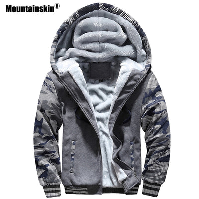 Mountainskin Winter Men's Hoodies Fleece Thick Jackets Camouflage Hooded Coats Mens Casual Tracksuits Male Sweatshirt 5XL SA579