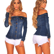 Autumn Winter Fashion Women Off Shoulder Denim Button Casual Tops Blouses
