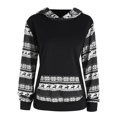 Women Printed Deer Long Sleeve Hooded Loose Blouse Casual Tops