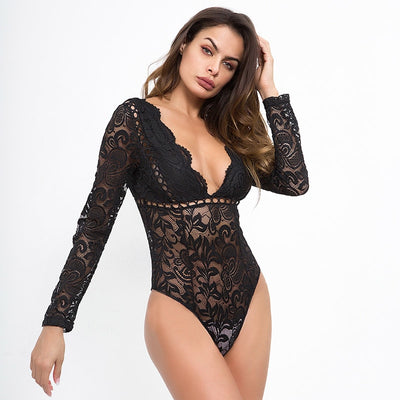 Simenual Deep v neck lace bodysuit women autumn 2018 transparent sexy hot bodysuits long sleeve sheer white body jumpsuit female