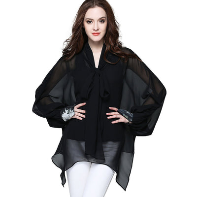 Loose Chiffon Long Sleeve See Through Blouse
