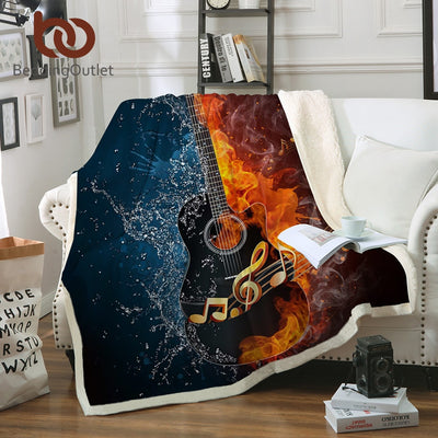 BeddingOutlet Fire And Water Sherpa Blanket Guitar Bass Plush Soft Throw Blanket Music Thin Quilt for Youth 3D Printed Bedding