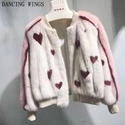 Women's Print Red Heart Casual Pink Fur Jacket Real Mink Fur Coat Short Baseball Mink Coats
