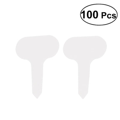 100pcs T-typed Waterproof Plant Labels Nursery Garden Tags Markers Garden Insert Tag Re-usable Plant Labels (White)