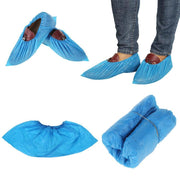 100PCS Plastic Disposable Shoe Covers Medical Waterproof Boot Covers Overshoes Rain Shoe Covers Mud-proof Blue