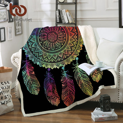 BeddingOutlet Colorful Dreamcatcher Throw Blanket Bohemian Mandala Sherpa Fleece Blanket for Bed Sofa Boho Bedspread 150x200cm