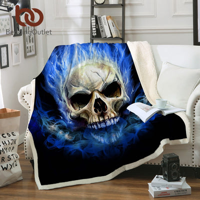 BeddingOutlet Flame Skull Collection Gothic Sherpa Blanket Plush Soft Throw Blanket Blue Orange Fire Thin Quilt Cool 3d Bedding