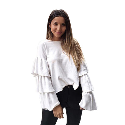 Women Casual Loose O-Neck Solid Long Flare Sleeve Knitting Top Blouse