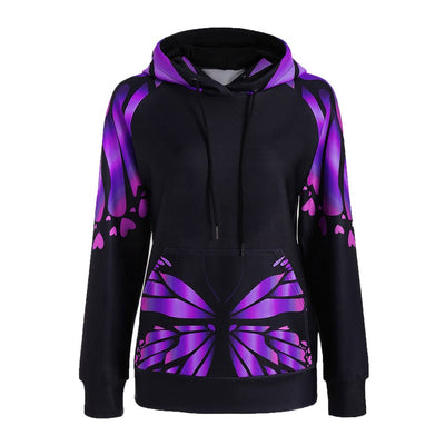 Women Long Sleeve Butterfly Print Floral Hoodies Tops Blouses Sweatshirts