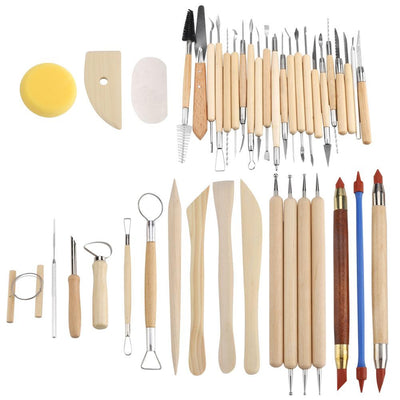 42Pcs Ceramic Pottery Crafts Tools Set Clay Sculpting Carving Modeling Combination Tool Kit