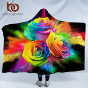 BeddingOutlet Colorful Roses Hooded Blanket for Woman 3D Printed Floral Sherpa Fleece Wearable Kids Throw Blanket Microfiber