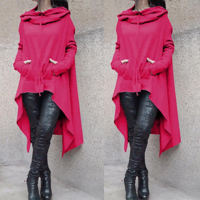 Women Loose Hoodie Long Hooded Tops Ladies Sweatshirt Sweater Asymmetric Blouse