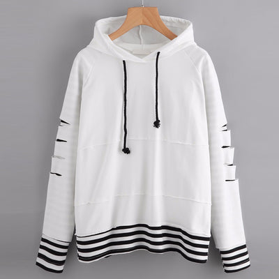 Women O-Neck Pocket Hoodie Jumper Stripe Long Sleeve Sweatshirt Pullover Tops