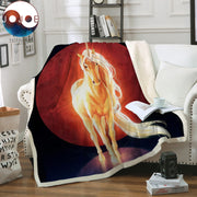 Last Unicorn by JoJoesArt Velvet Plush Sofa Blanket Psychedelic Shining Horse Throw Blanket Golden Animal Thin Quilt Bedding