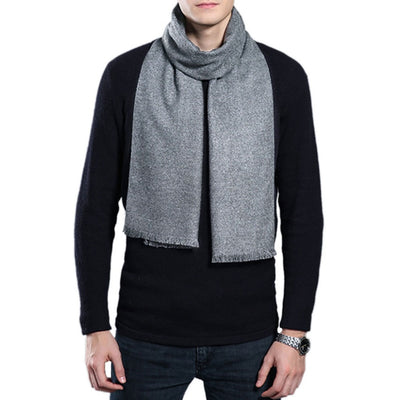 Mens Winter Solid Color Scarf Tassel Pashmina Warm Wrap 9 Colors Soft Business