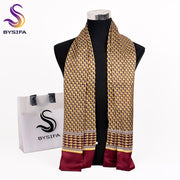 [BYSIFA] Gold Red Men Silk Scarf Cravat Winter Autumn New Business Neck Scarf 100% Silk Male Long Scarves Cravat 160*26cm