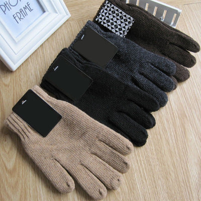 Men's Knitted Gloves Thicken Thermal Warm Black Wool Knitted Gloves Mittens