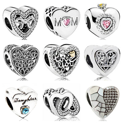 Btuamb Punk Vintage Hollow Love Heart Enamel Alloy Beads Fit Original Pandora Bracelets Necklaces for Women Making Jewelry Gift