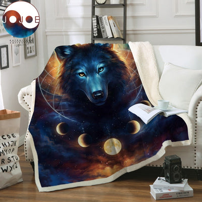 Dream Catcher by JoJoesArt Wolf Velvet Plush Sofa Blanket Moon Eclipse Throw Blanket Galaxy Print Thin Quilt Bedding 150x200cm