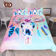 BeddingOutlet Skull Feathers Bedding Set Watercolor Boho Duvet Cover Floral Pink Blue Girly Home Textiles Tribal Bedclothes 3pcs