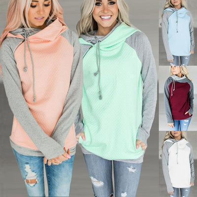 Oversize Hoodies Sweatshirts Women Pullover Hoodie Female Patchwork Double Hood Hooded Sweatshirt Autumn Coat Warm Hoody XXXL