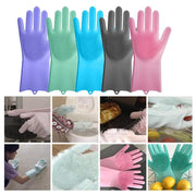 1 Pair Magic Silicone Scrubber Rubber Cleaning Gloves Dusting Dish Washing Pet Care Grooming Hair Car Insulated Kitchen Helper