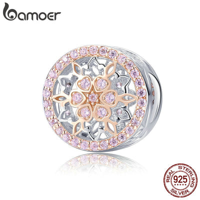 BAMOER Genuine 925 Sterling Silver Blooming Buds Clear Cubic Zircon Beads Charms fit Bracelets DIY Jewelry Making SCC923