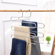 1 Pack Pants Hangers S-type Stainless Steel Trousers Rack 5 layers Multi-Purpose Closet Hangers Magic Space Saver Storage Rack