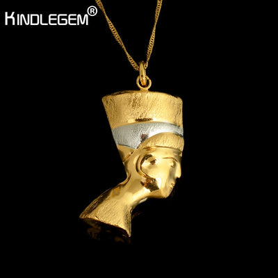 Kindlegem Pure Gold Silver Color Pharaoh Necklace Pendant Chian For Women Men Dubai Egyptian Jewelry Italy High Quality Bijoux