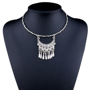 MYTHIC AGE Bohemian Hand Made Tibetan Silver Color Tribal Tassel Vintage Collar Choker Necklace Jewelry for Women Girl