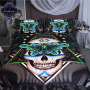 Prophecies by Brizbazaar Bedding Set Gothic Skull Duvet Cover Green Butterfly Bed Set 3-Piece Geometric Abstract Art Bedclothes