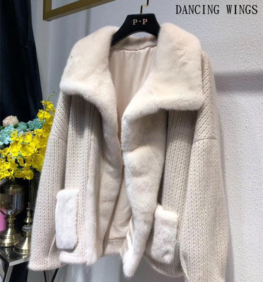 Autumn Winter Import Mink Coats Stiching Knit Long Sleeve Fashion Motorcycle Jacket Women Real Fur Coats