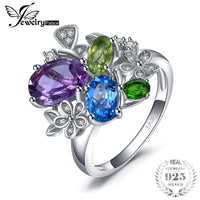 JewelryPalace Flower 2.6 Genuine Amethyst Sky Blue Topaz Peridot Chrome Diopside Pendant 925 Sterling Silver For Women New Hot