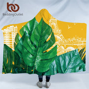 BeddingOutlet Plant Hooded Blanket France Tower Sherpa Fleece Microfiber Leaf Leaves Yellow and Green Throw Blanket Thin Quilt