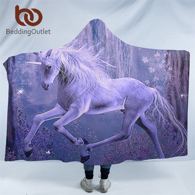 BeddingOutlet Purple Unicorn Hooded Blanket 3D Printed Soft Sherpa Fleece Microfiber Floral Scenic Throw Blanket 150x200cm