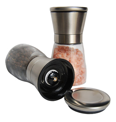 Stainless Peppermill & Salt Grinder by  in Stainless Steel and Glass – Salt and Pepper Shaker set with Adjustable Coarseness for Spices, Salt crystal, Seed herbs and Peppercorn - Set of 2