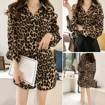 Women Casual Leopard Printed T Shirt Ladies Long Sleeve Blouse Top Plus Size