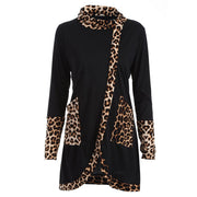 Women Casual Leopard Print Cowl Neck Long Sleeve Patchwork Shirt Tops Blouse