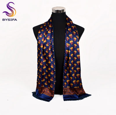 [BYSIFA] Blue Gold Men Silk Scarf Fashion Double Faces 100% Silk Male Warm Neck Scarf Cravat Winter Tassel Long Scarves 165*24cm