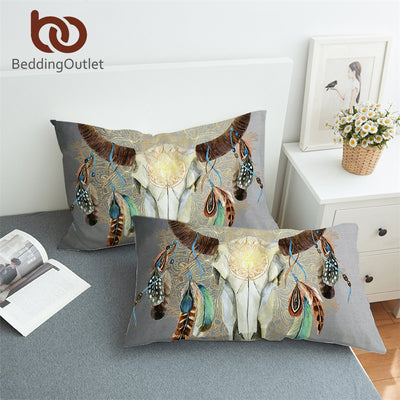 BeddingOutlet Skull Feathers Pillowcase Tribal Pillow Cover Microfiber Indian Bohemian Floral Pillow Case 50x75cm Multi Colors