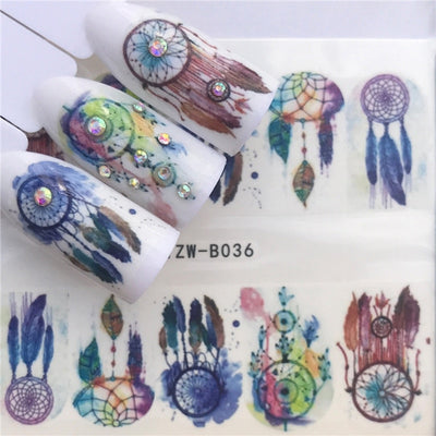 Mtssii 3 Sheets 3D Water Nail Stickers Colorful Cartoon Animal Flower Cat Designs Sliders For Nail Decals DIY Nail Art Manicure