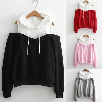 Womens Patchwork Sweatshirts Hoodie Sexy Cold Shoulder Long Sleeve Sweatshirt Hooded Pullover Tops Jumper sudadera mujer