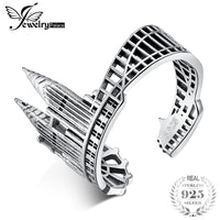 JewelryPalace 925 Sterling Silver Vintage World Travel Souvenir Twin Towers Adjustable Open Ring New Hot Sale As Beautiful Gift