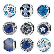 Authentic 925 Sterling Silver Radiant Hearts Blue CZ Crystal Glass Bead Pendant Fit Pandora Original Charms Bracelet Jewelry