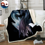 Yin and Yang Dragons Black by JoJoesArt Velvet Plush Blanket on the Bed 3D Printed Throw Blanket Animal Bedding cobertor