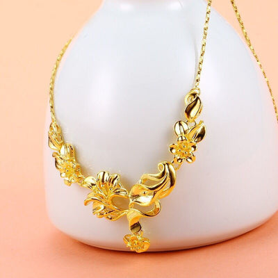 MxGxFam Generous Flowers Pendant Necklaces For Women Wedding Jewelry 24 k Pure Gold Color Good Quality