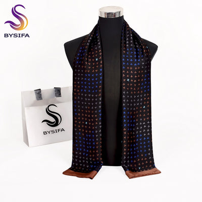 [BYSIFA] New Brand Business Men Scarves Fall Winter Fashion Male Long Silk Scarf Cravat Casual Black Men Neck Scarf 170*30cm